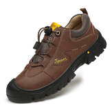 Men Genuine Leather Slip Resistant Elastic Lace Casual Outdoor Hiking Shoes