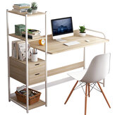 Computer Laptop Desk Writing Study Table Bookshelf Desktop Workstation with Storage Shelf Drawers Home Office Furniture