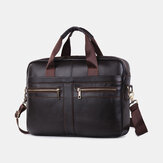 Men Genuine Leather Multi-function Retro Large Capacity Travel Handbag Cross Body Bag