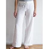 Women Elastic Waist Pockets Long Cotton Wide Leg Pants