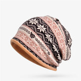 Women Snowflake Print Multi-purpose Beanie Hats Scraf