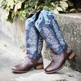 Большие размеры Женское Ковбой до середины икры с цветочной вышивкой в стиле ретро Ботинки