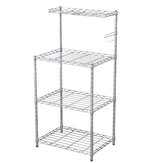 4 Tiers Adjustable Space Saver Organizer Metal Storage Rack Microwave Oven Rack Kitchen Living-room Bathroom Bedroom