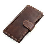 Men Genuine Leather RFID Blocking Secure Long Secretary Wallet Vintage Card Holder