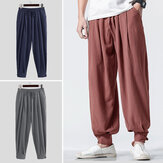 INCERUN Men Harem Pants Retro Solid Color Cotton Linen Casual Joggers Loose Sweatpants Elastic Waist Vintage Trousers Men 2020