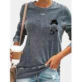 Women Simple Chest Black Cat Pattern Round Neck Long Sleeve T-Shirts