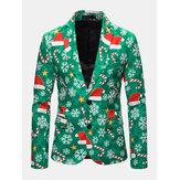 Мужской рождественский Шаблон Однобортный повседневный пиджак с длинным рукавом с принтом