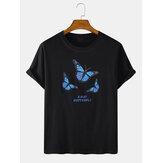 Hombre Mariposa Letra Imprimir Algodón Redondo Cuello Casual Camisetas de manga corta