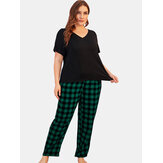 Women Plus Size Loungewear Short Sleeve Tops With Striped Pants Casual Pajama Set