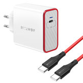BlitzWolf® BW-PL4 45W PD Type C USB Charger EU Adapter + BW-TC17 3A USB PD Type-C hingga Type-C Pengisian Kabel Data 3ft / 0.9m