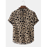 Mens Leopard Print Henley Collar Short Sleeve Shirts