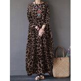 Frauen Leopardenmuster Rundhalsausschnitt Loose Baggy Maxi Kleid