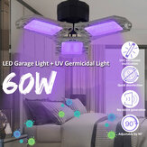 60W LED UVC Ultraviolet Germicidal Lamp Bulb Garage Ceiling Light E27 Two Usages