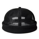 Hombres Malla Algodón Cráneo Gorra Retro Circular Ajustable Transpirable Melón Sombrero Sin Bordes Sombreros