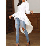 Casual Loose Lapel High Low Hem Ruffle Blouse For Women