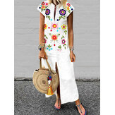 Women Bohemian Floral Print V-neck Short Sleeve Dress