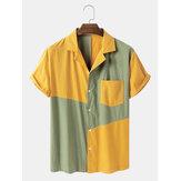 Banggood Tasarlanmış Erkek% 100 Pamuk Patchwork Nefes Günlük Gömlekler