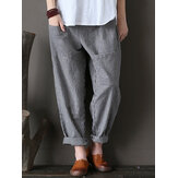 Women Stripe Elastic Waist Casual Loose Harem Pants