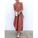 Polka Dot Print Sling Bohemia High Low Hem Summer Maxi Dress