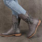 Plus Size Women Retro Rivet Cross Strap Back Zipper Mid Calf Boots