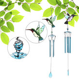 Wind Chimes Hummingbird Shape Crafts Glass Painted Ornaments Metal Accessory for Home Decorations