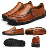 Fashion Men's Leather Casual Zipper Shoes Breathable Antiskid Loafers Moccasins