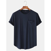 Mænd Casual Loose Ensfarvet patchwork Pocket Crew Neck korte ærmer T-shirts