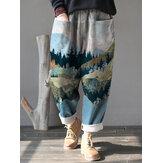 Kadın Manzara Baskı Kadife Elastik Bel Gevşek Rahat Vintage Pantolon