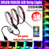 1M 2M 3M 4M 5M USB Bluetooth RGB LED Strip Light 5050 APP Contrôle vocal Lampe non étanche pour Room TV Party Bar