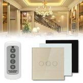 1 camino interruptor de pared de 3 cuadrillas luz del panel de vidrio de cristal táctil del mando a distancia