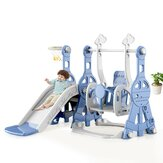 Brinquedo de bebê multifuncional para interior deslizante macaron + balanço + cesta de basquete