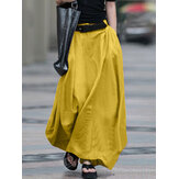 Women Cotton High Elastic Waist Side Pocket Zipper Solid Casual Skirts