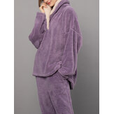 Women Fluffy Plush Thicken Lapel High Low Hem Loungewear Warm Pajamas Set