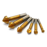 Drillpro 6pcs 3 Flute Titanium Chamfer 90 Degree Chamfering End Mill Cutter Countersink Drill Bit