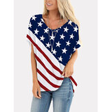 American Flag Star Print Independence Day Crew Neck Dames Casual T-shirts voor dames