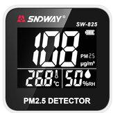 Monitor digital de qualidade do ar SNDWAY SW-825 Laser PM2.5 Monitor detector de umidade e temperatura do gás