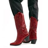 Большие размеры в стиле ретро Женское Цветочный массивный каблук Ковбой до середины икры Ботинки