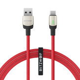 BlitzWolf®BW-TC21 3A LED Type-C Kablo Nylon Örgülü Hızlı Şarj Veri Kablosu 3.3ft / 6.6ft, 22 AWG Power + 29 AWG Data for Samsung S20 Xiaomi 9T Note8 Huawei Redmi LG