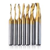 Drillpro 3/4/5/6/8/10 / 12mm Tytanowy frez trzpieniowy Frezy do grawerowania CNC HSS M2 Frez spiralny z pojedynczym ostrzem do aluminium