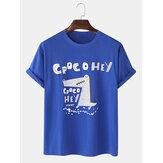 100% Algodão Bonito Dos Desenhos Animados Crocodilo Padrão Carta Impressão Solta Camisetas de Manga Curta