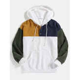 Heren Corduroy Patchwork Half Button Pouch Pocket Trekkoord Hoodies