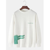 Mens Cartoon Crocodile Print Pullover Long Sleeve Casual Sweatshirts