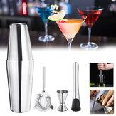 4PCS Stainless Steel Cocktail Shaker Mixer Drink Bartender Martini Tools Bar Set Kit
