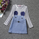 Cute Kid Girls Striped Cartoon Little Mouse Patchwork Dress