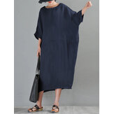 3/4 Sleeve Crew Neck Loose Baggy Women Casual Midi Dress With Pocket