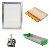 Screen Printing Tools Kit med Aluminium Frame Hængsel Clamp Emulsion Coater Squeegee