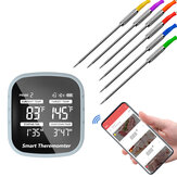 bluetooth Wireless BBQ Thermometer Smart Cooking Tools with 6 Probes Alarm Timer Free APP for Phone