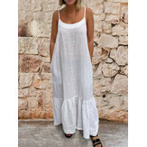 Women Sleeveless Adjustable Straps Solid Casual Maxi Dress