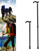 75-90CM Metal Walking Hiking Stick Travel Folding Cane Pole Compact Adjustable Alpenstock