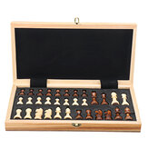 Portable 2 in 1 Folding Wooden Chessboard Wood Board Magnetic Chess Pieces Travel Games